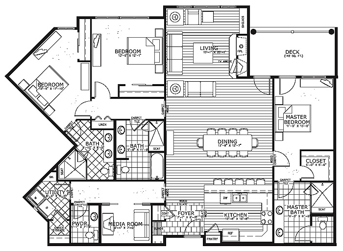 Condo house plans floor plans for Condo floor plan