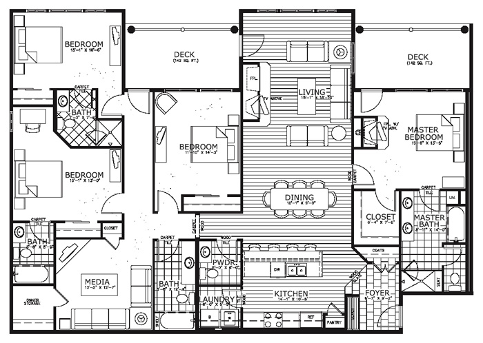 Breckenridge bluesky condos floor plans for One bedroom condo design