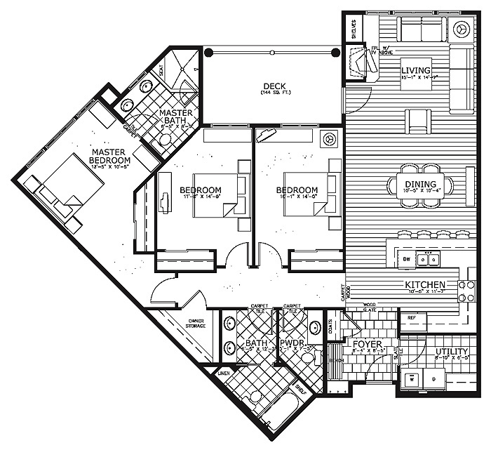Home ideas condo house plans for Condo floor plan