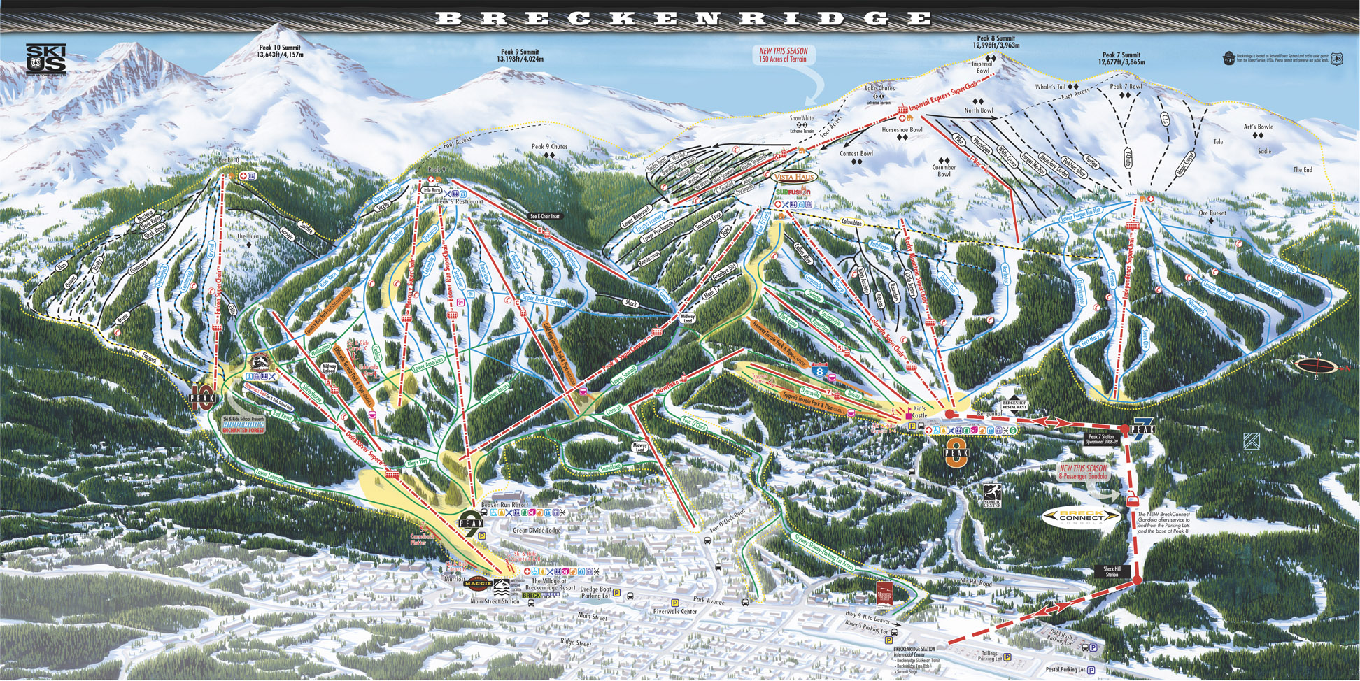 Breckenridge Map Trail Gondola Colorado Ski Slopes CO Breckconnect ...