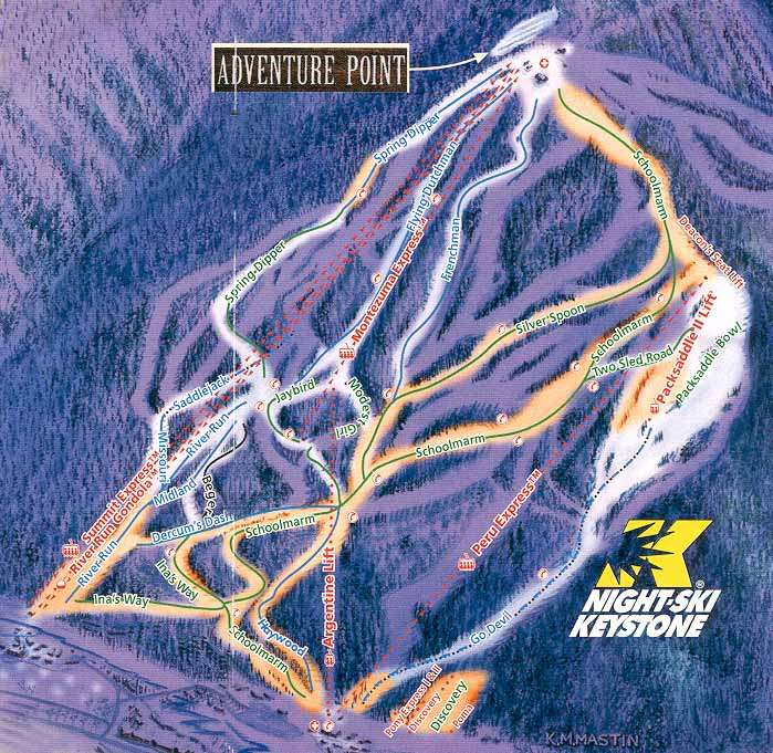 Night Ski Keystone Colorado Trails Map